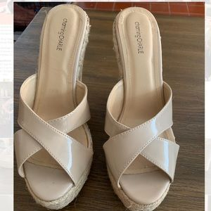Charming Charlie Nude Patten Leather Wedges